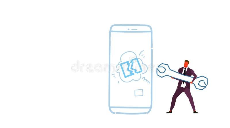 Chiave della tenuta dell'ingegnere del meccanico dell'uomo di affari vicino al concetto digitale di servizio di sostegno del disp royalty illustrazione gratis