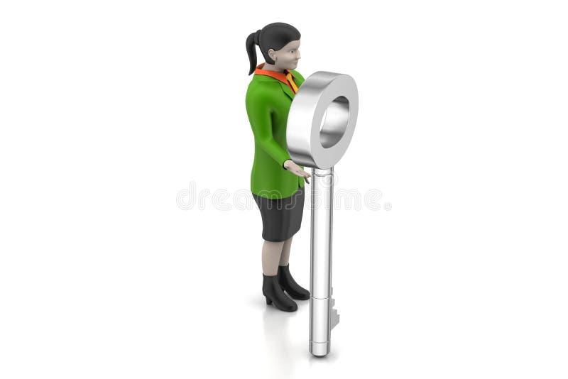 chiave della tenuta della donna 3d fotografia stock