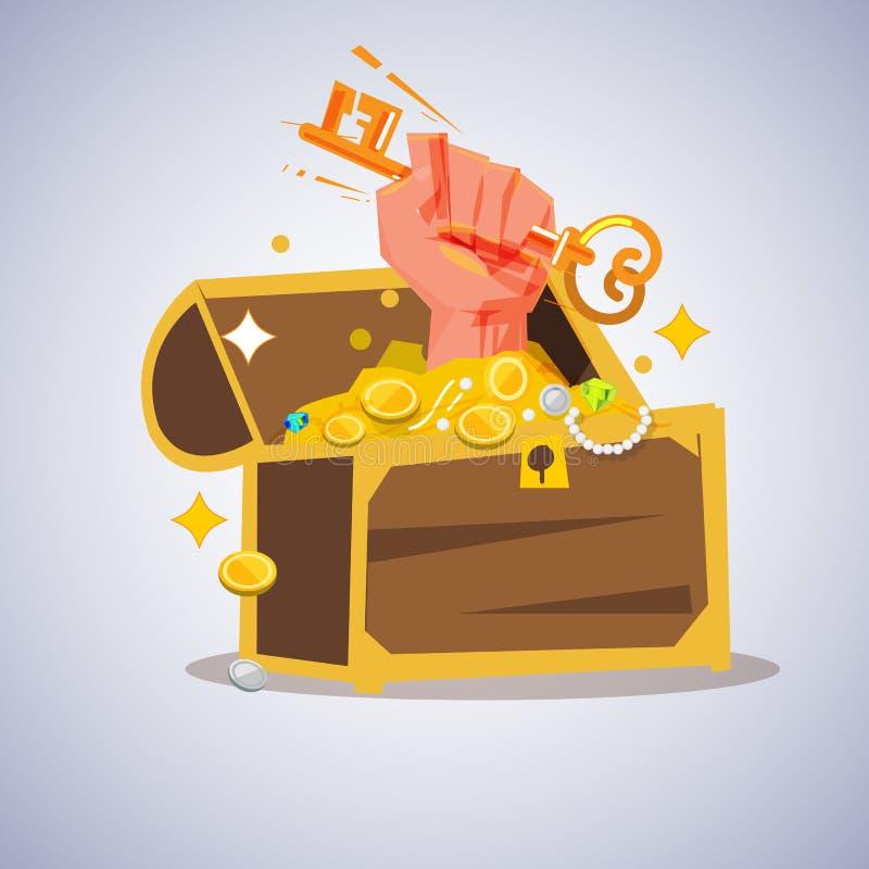 Chiave della tenuta della mano del pugno da sbloccare in contenitore di tesoro Sblocchi il concetto royalty illustrazione gratis