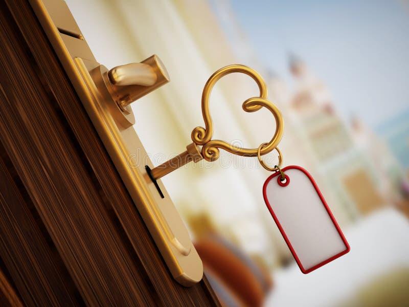 Chiave di camera di albergo a forma di del cuore illustrazione di stock
