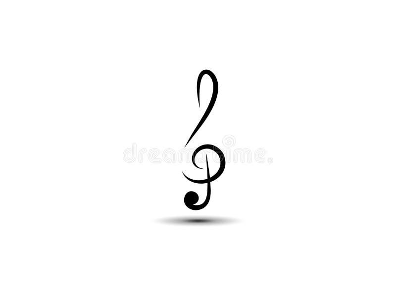 Chiave di triplo astratta musicale di vettore, icona, siluetta Stile di arte L'elemento ? isolato su un fondo leggero royalty illustrazione gratis