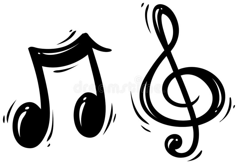 Chiave di triplo della siluetta e nota nere di musica illustrazione vettoriale