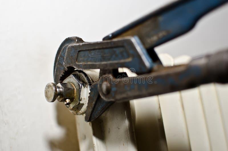 Chiave di tubo dell'idraulico fotografia stock