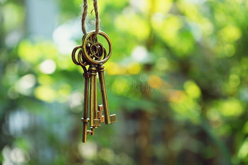 Chiave domestica con l'anello portachiavi della casa che appende con il fondo del giardino della sfuocatura fotografia stock