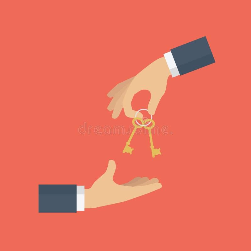 Chiave domestica di elasticità domestica dell'agente al compratore Affare, vendita ed affitto del bene immobile royalty illustrazione gratis