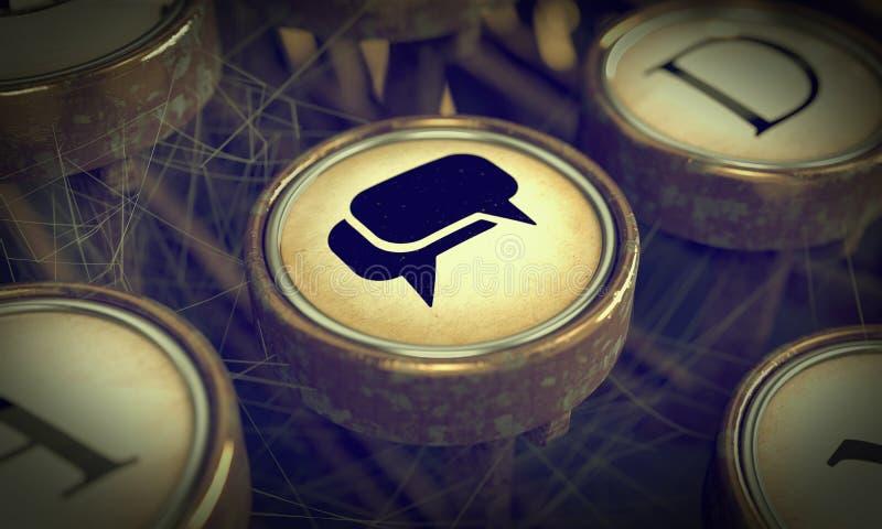 Chiave sociale di media sulla macchina da scrivere di lerciume. immagini stock libere da diritti
