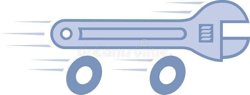 Chiave sulle rotelle illustrazione di stock