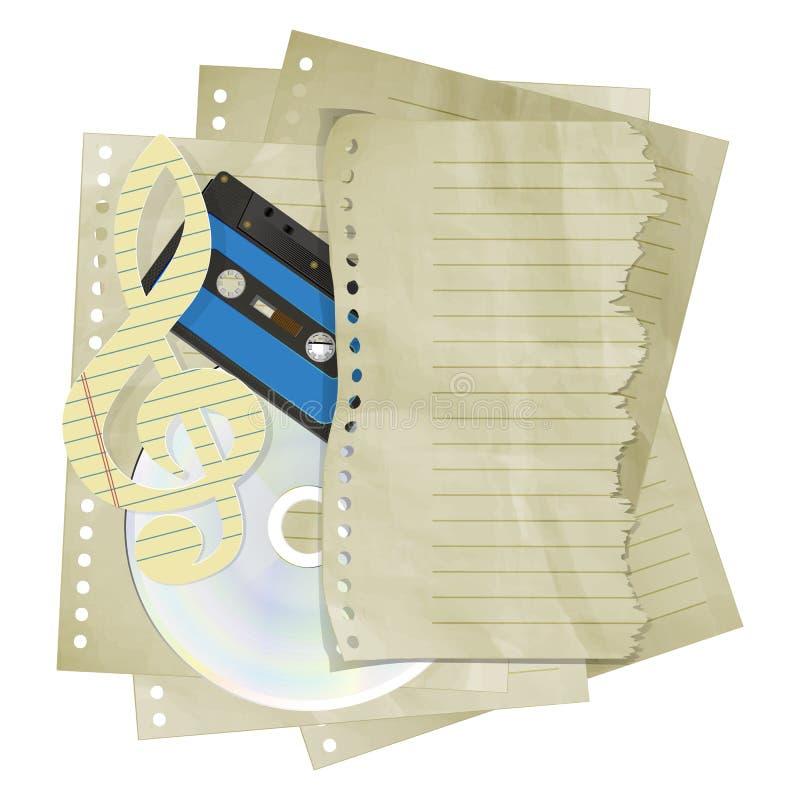 Chiave tripla di carta sul CD dello strato e sull'audio cassetta illustrazione di stock