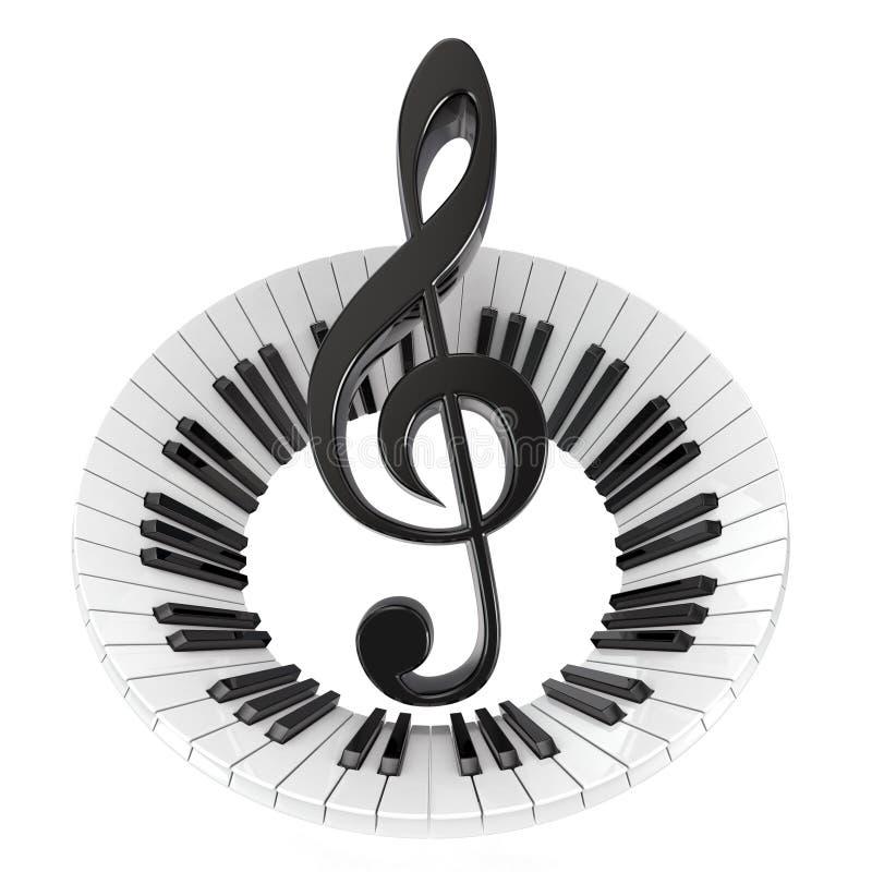 Chiave tripla in tastiera di piano astratta Simbolo di musica royalty illustrazione gratis