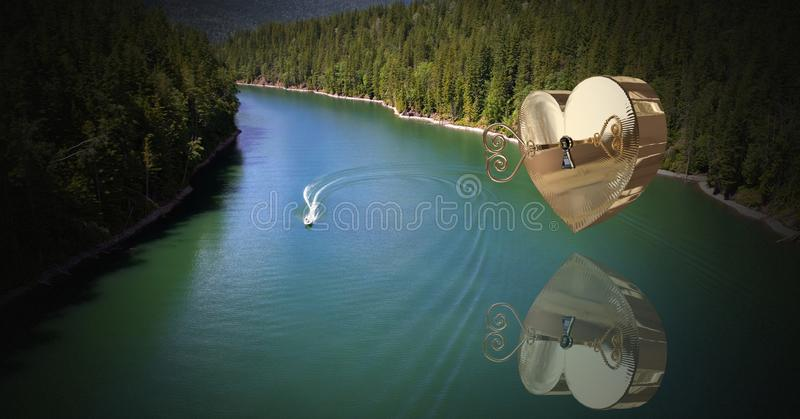 chiave a tubo del cuore 3D che galleggia sopra il fiume e riflettere immagini stock libere da diritti