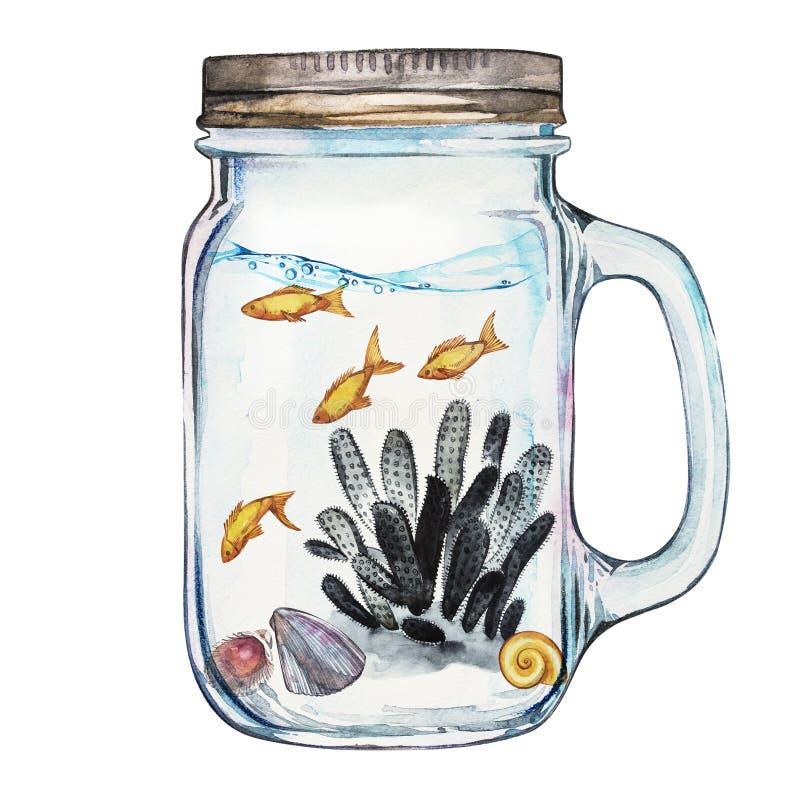 Chiavetta di Isoleted con Marine Life Landscape - l'oceano ed il mondo subacqueo con differenti abitanti Acquario illustrazione vettoriale