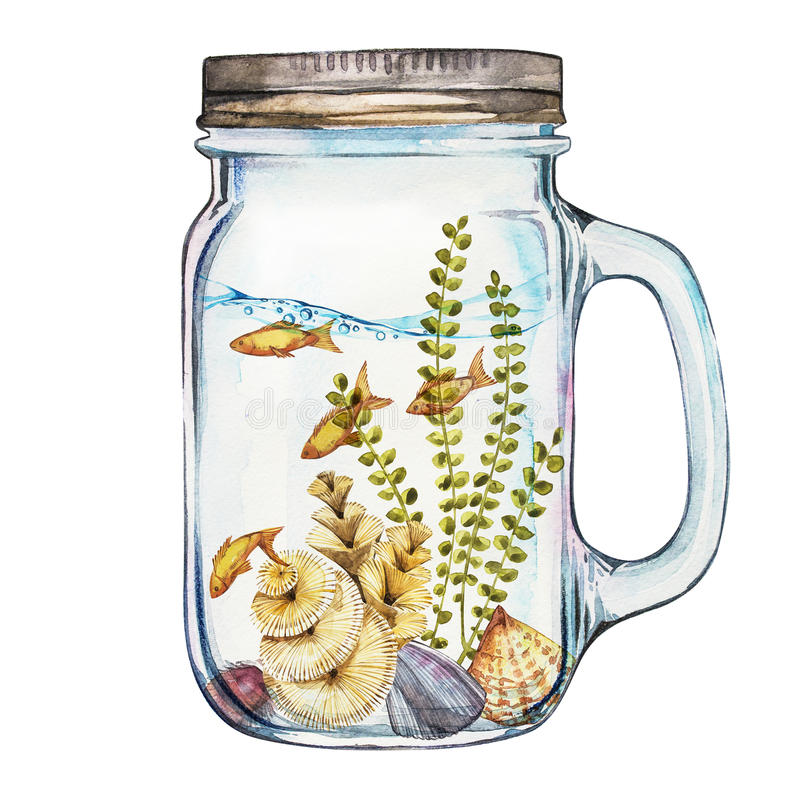 Chiavetta di Isoleted con Marine Life Landscape - l'oceano ed il mondo subacqueo con differenti abitanti Acquario illustrazione di stock