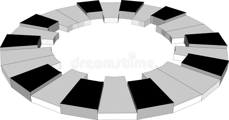 Chiavi del piano del cerchio, due ottava, 3d illustrazione di stock