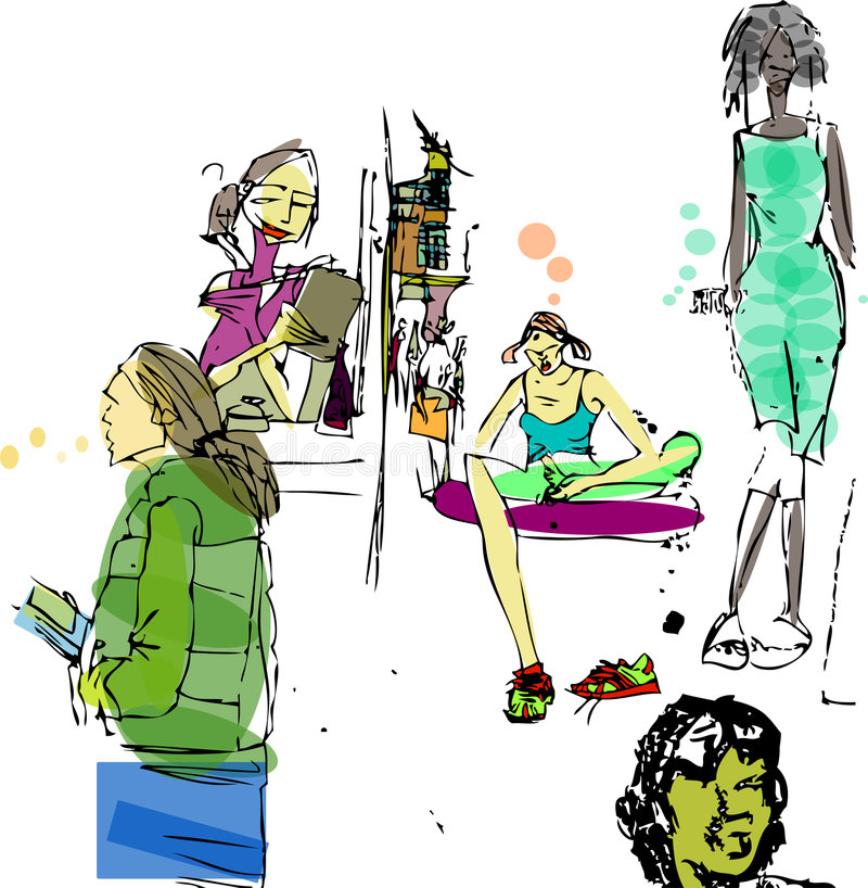 Chiazze di Grunge della gente royalty illustrazione gratis