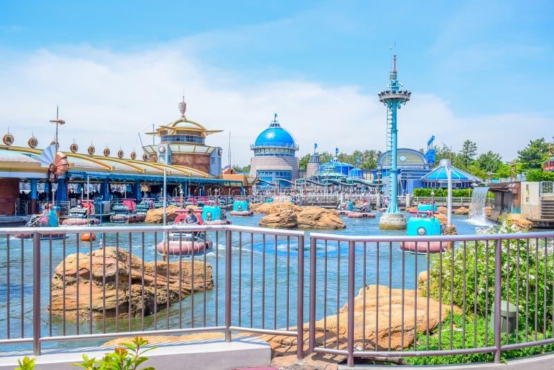 CHIBA, JAPAN: Aquatopiaaantrekkelijkheid op het gebied van de Havenontdekking in Tokyo Disneysea in Urayasu, Chiba, Japan wordt g stock afbeeldingen