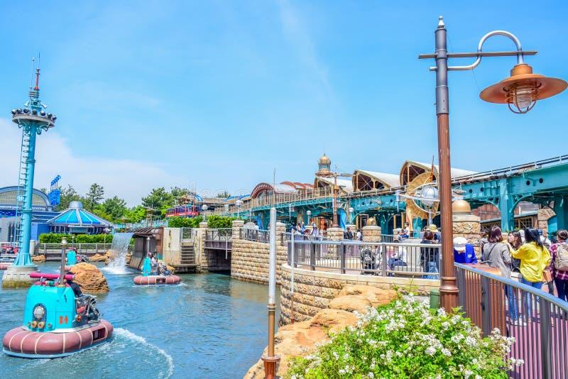 CHIBA, JAPAN: Aquatopiaaantrekkelijkheid op het gebied van de Havenontdekking in Tokyo Disneysea in Urayasu, Chiba, Japan wordt g stock fotografie