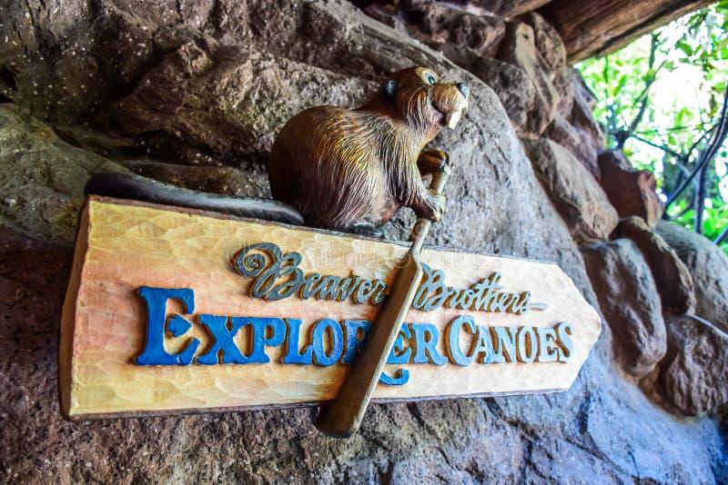 CHIBA, JAPAN: Beaver Brothers Explorer Canoes signage, Critter Country, Tokyo Disneyland. Beaver Brothers Explorer Canoes signage, Critter Country, Tokyo stock images