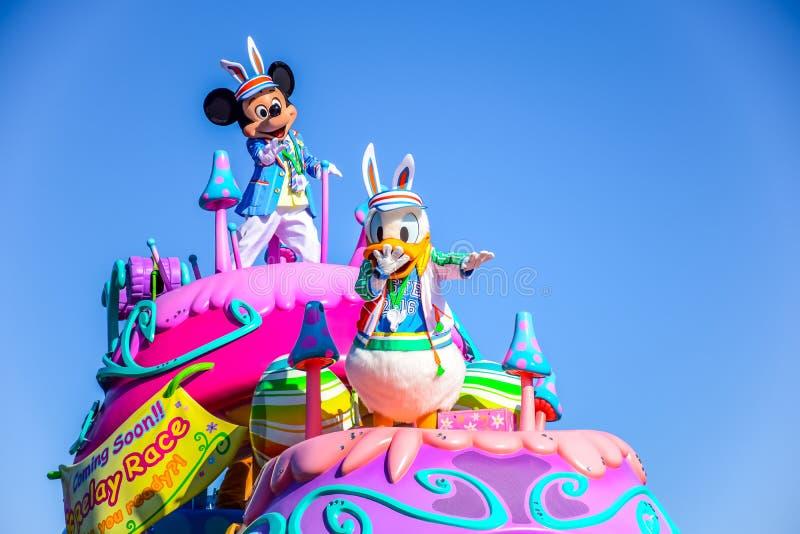 CHIBA, JAPAN: De dagparade Urayasu, Japan van Tokyo Disneyland Pasen stock afbeeldingen