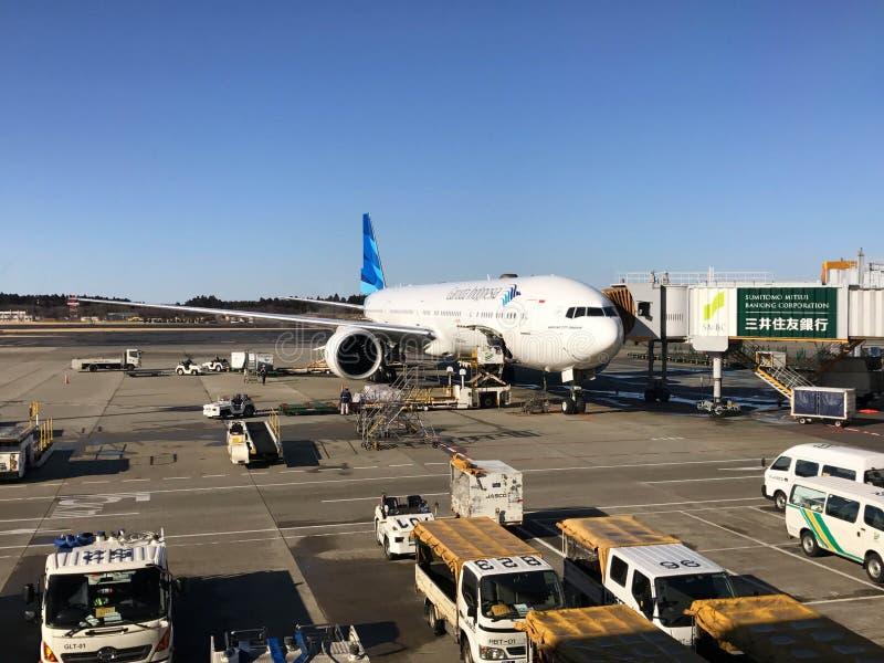 Chiba, Japan - Februari 19, 2017: mening van Narita Luchthavenoperati stock fotografie