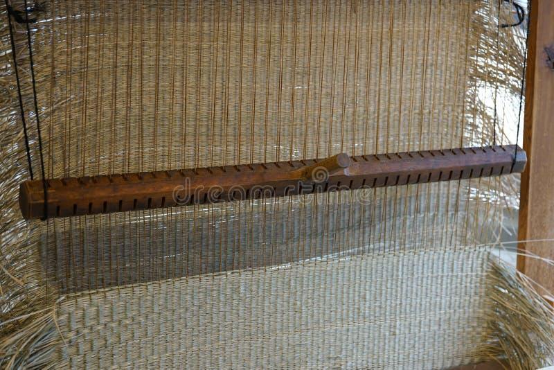 Manual tatami mat weaving machine. Chiba,Japan-February 19, 2019: Manual tatami mat weaving machine royalty free stock photography