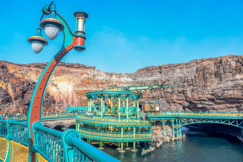 CHIBA, JAPAN: Geheimzinnige die Eilandaantrekkelijkheid in Tokyo Disneysea in Urayasu, Chiba, Japan wordt gevestigd royalty-vrije stock foto's