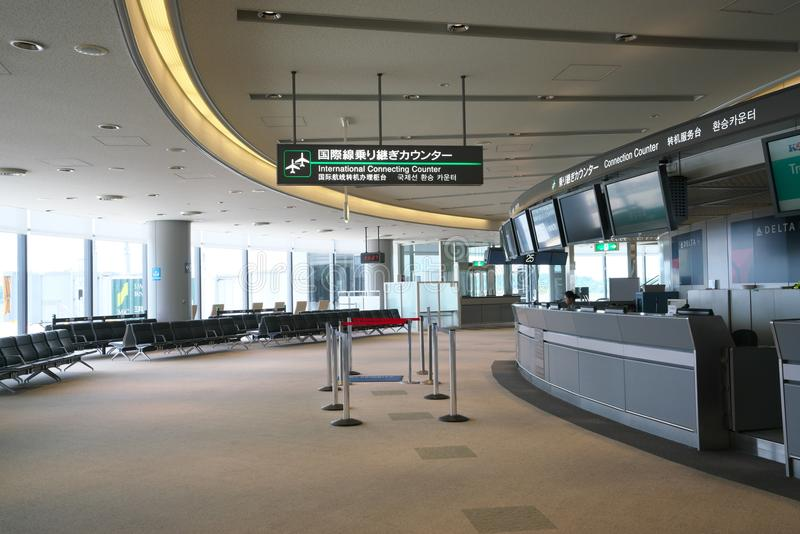 Narita Airport Terminal1 International Connection Counter and Lobby stock photography
