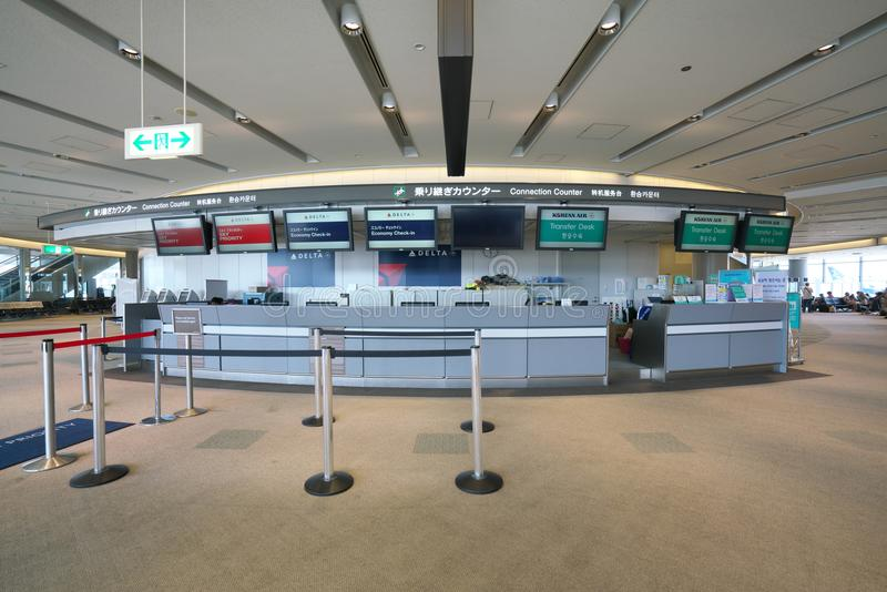 Narita Airport Terminal1 International Connection Counter and Lobby stock images