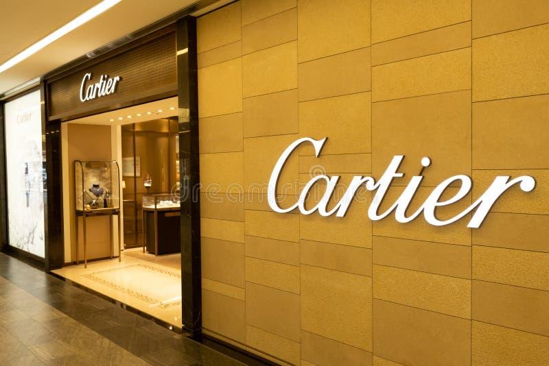 Chiba, Japan - Maart 24, 2019: Weergeven van de vooropslag van Cartier, Franse luxe unieke inzamelingen van fijne juwelen, bruids stock foto