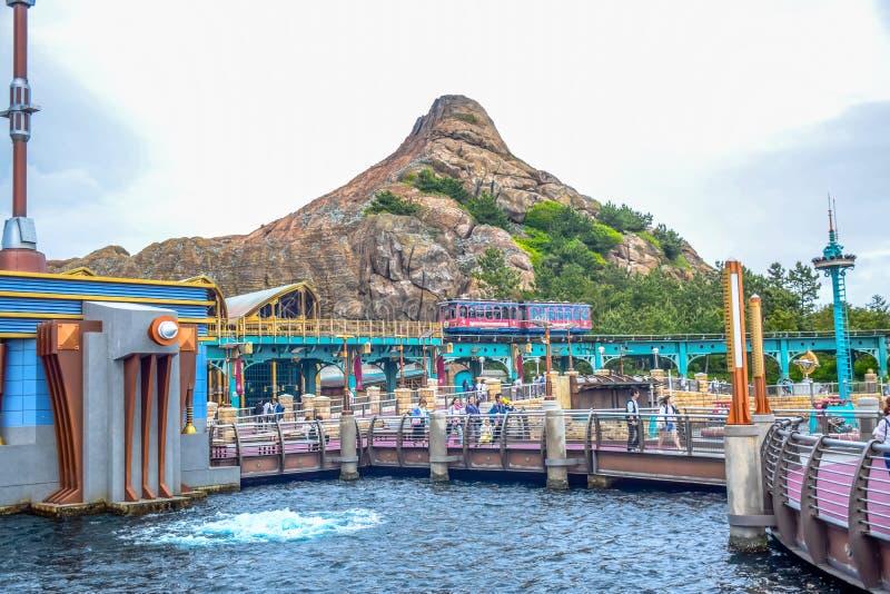 CHIBA, JAPAN - MAG, 2016: Het gebied van de havenontdekking in Tokyo Disneysea in Urayasu, Chiba, Japan wordt gevestigd dat stock afbeeldingen