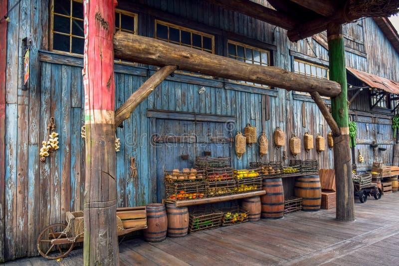 CHIBA, JAPAN - MAG, 2016: Vruchten in de mand in een oud oud dorp op Verloren Rivier Deltadiegebied in Tokyo Disneysea in Ur word stock foto