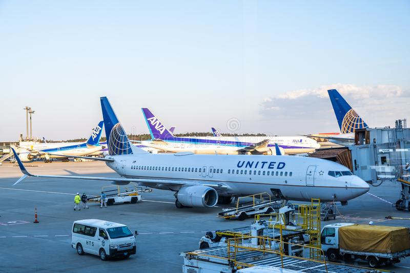 Chiba, Japan - March 24, 2019: View of United Airlines plane, a major American airline headquartered at Willis Tower in Chicago,. Illinois, parking at Narita royalty free stock images