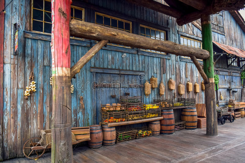 CHIBA, JAPAN: Fruits in the basket in an old ancient village in Lost River Delta area in Tokyo Disneysea located in Ur stock photo