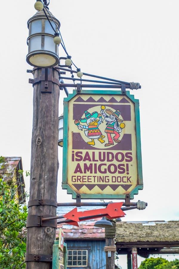 CHIBA, JAPAN: Isaludos Amigos Greeting Dock signage in Tokyo Disneysea located in Urayasu, Chiba, Japan. Isaludos Amigos Greeting Dock signage in Tokyo Disneysea stock images