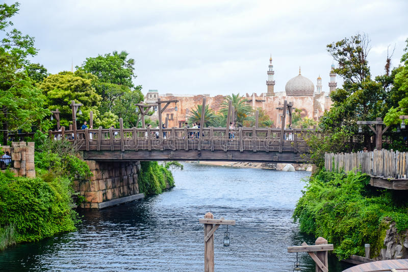 CHIBA, JAPAN: Old wooden bridge leading to Arabian Coast in Tokyo Disneysea located in Urayasu, Chiba, Japan royalty free stock photos