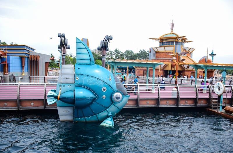 CHIBA JAPAN -, MAY 2016: Port upptäcktområde i Tokyo Disneysea som lokaliseras i Urayasu, Chiba, Japan arkivbild