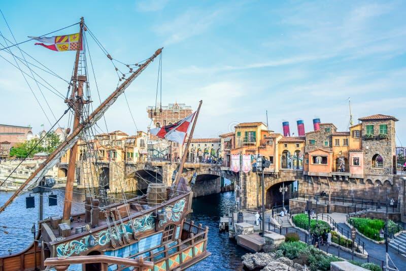 CHIBA, JAPAN: Mediterrane die Havenaantrekkelijkheid in Tokyo Disneysea in Urayasu, Chiba, Japan wordt gevestigd stock afbeeldingen