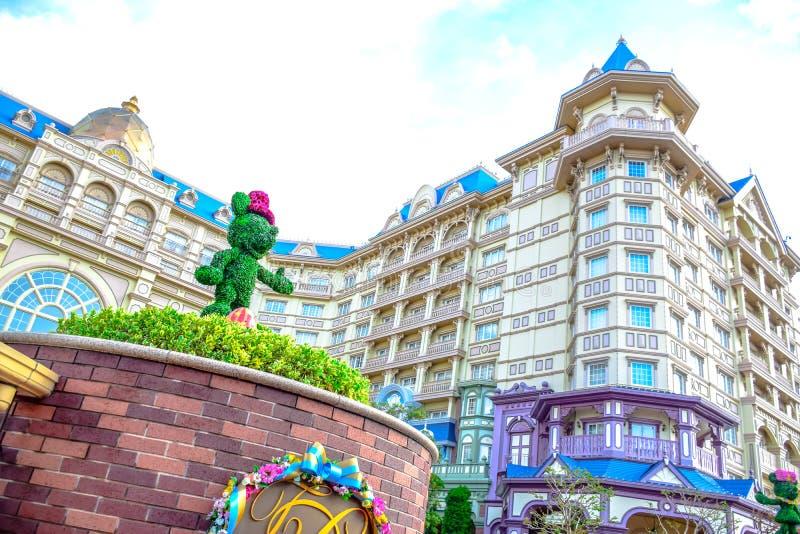 CHIBA, JAPAN: Mening van het Hotel van Tokyo Disneyland in de Toevlucht van Tokyo Disney, Urayasu, Chiba, Japan wordt gevestigd d stock afbeelding
