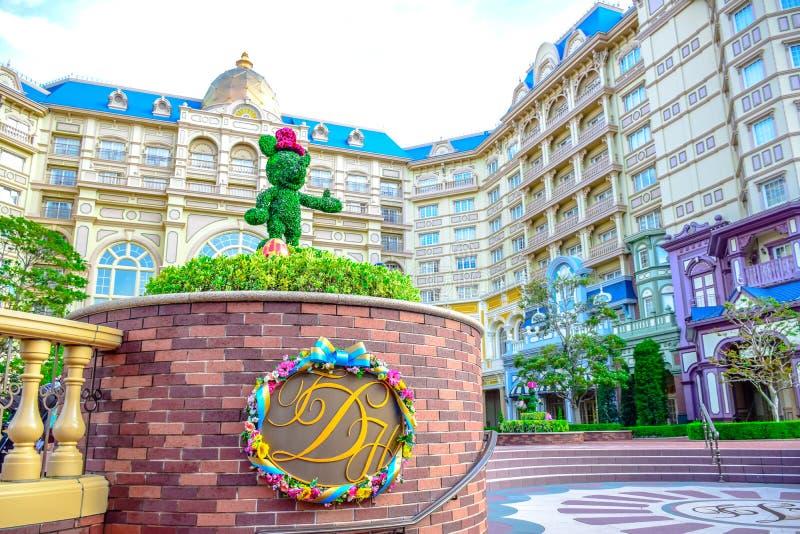 CHIBA, JAPAN: Mening van het Hotel van Tokyo Disneyland in de Toevlucht van Tokyo Disney, Urayasu, Chiba, Japan wordt gevestigd d stock foto's