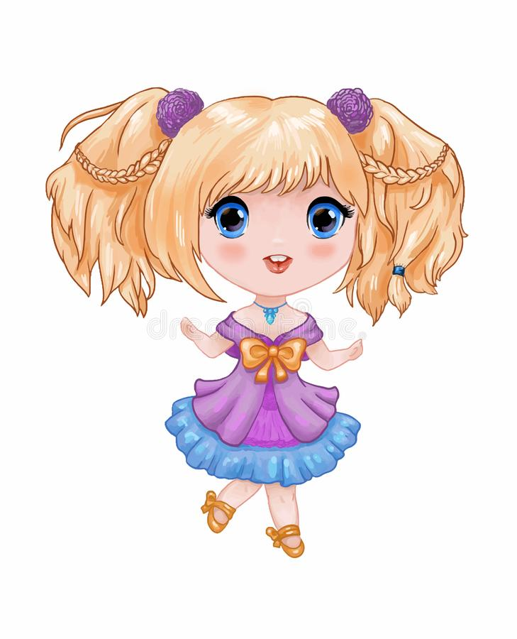 Chibi illustration. Little cute anime girl in purple-blue dress. Duncing and smiling. Hand-drawn cartoon child. Character suitable for print on childen`s goods royalty free illustration