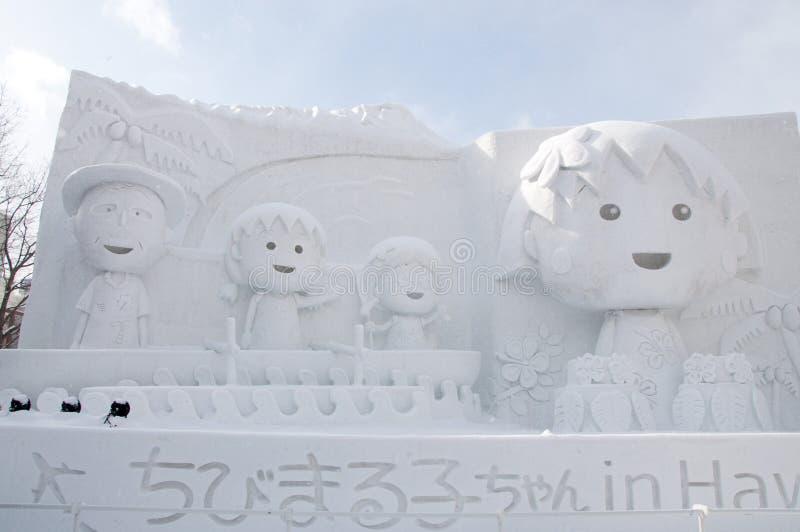 Chibi Maruko Chan w Hawaje, Sapporo śniegu festiwal 2013 obraz royalty free