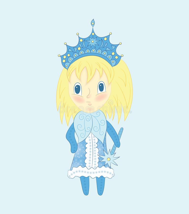 Cute chibi Snow Maiden in a blue dress. Christmas illustration of funny little girl with blond hair stock illustration