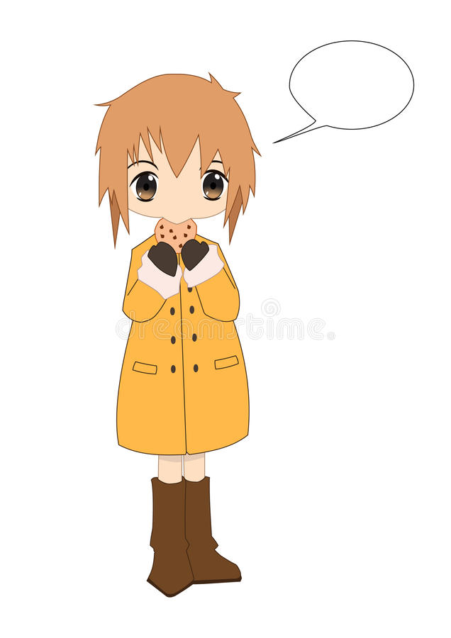 Download Chibi Van Anime Eet Koekjes Vector Illustratie - Illustratie bestaande uit leuk, koel: 29503069
