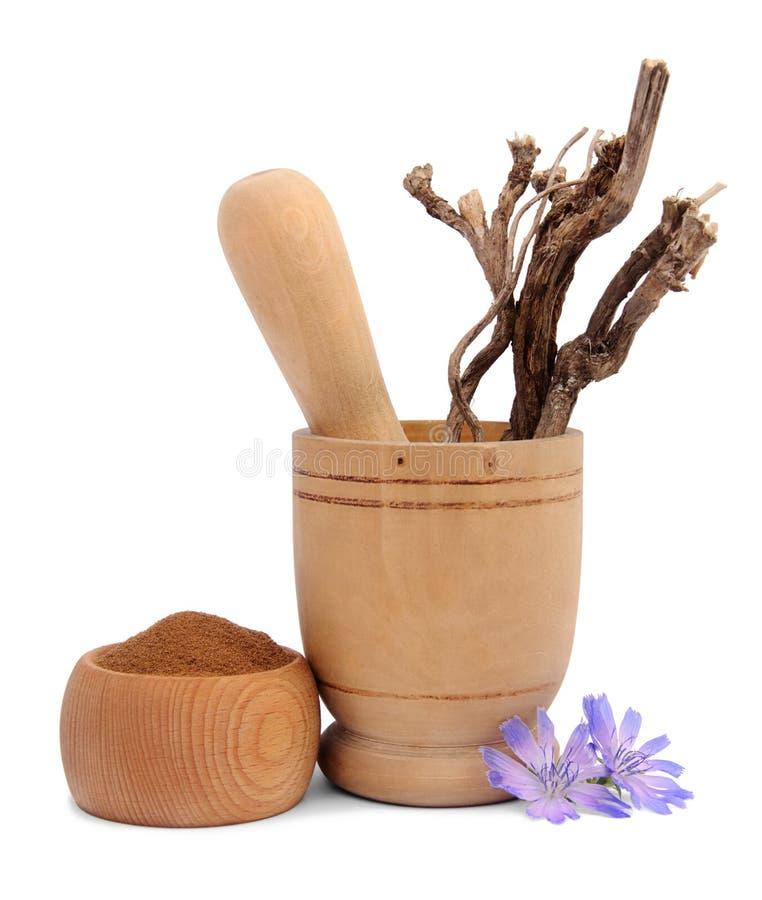 Chicória esmagada na bacia e em raizes de madeira do cichorium no almofariz de madeira foto de stock royalty free