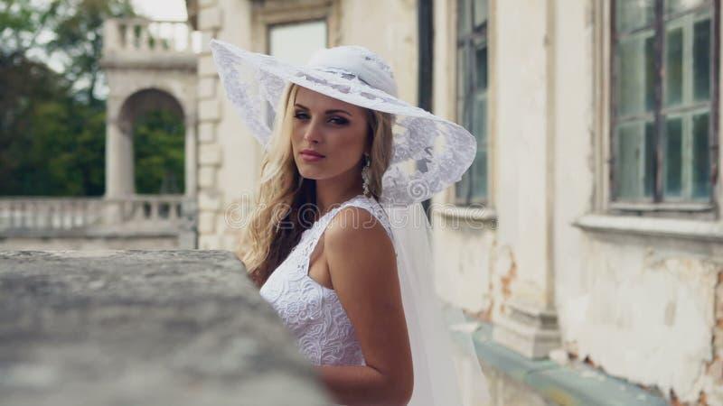 Chic Aristocratic Woman In Retro Style White Dress Stock Video