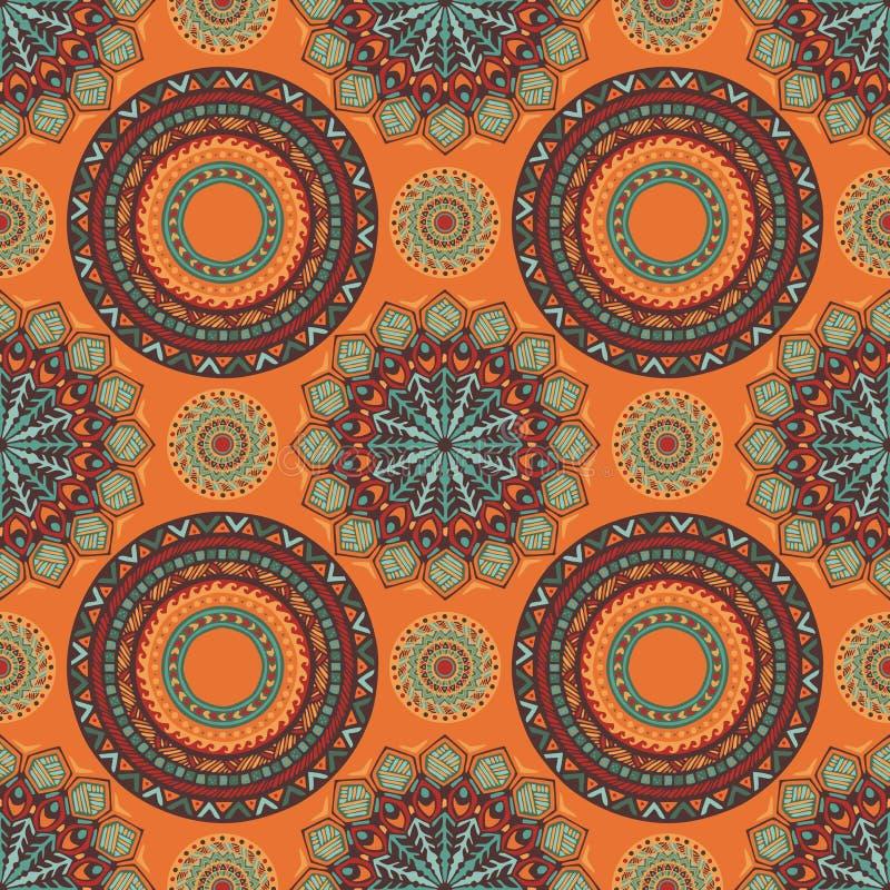 Chic design för stam- boho för sömlös modell för mandalastil med södra västra färgsignal vektor illustrationer