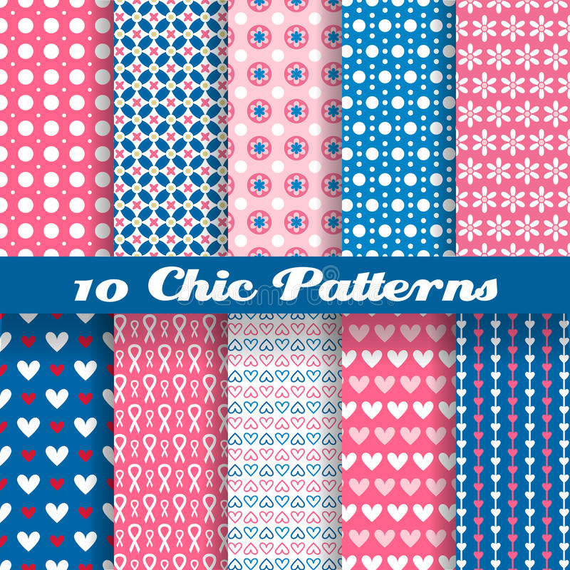 Chic different vector seamless patterns (tiling) royalty free illustration