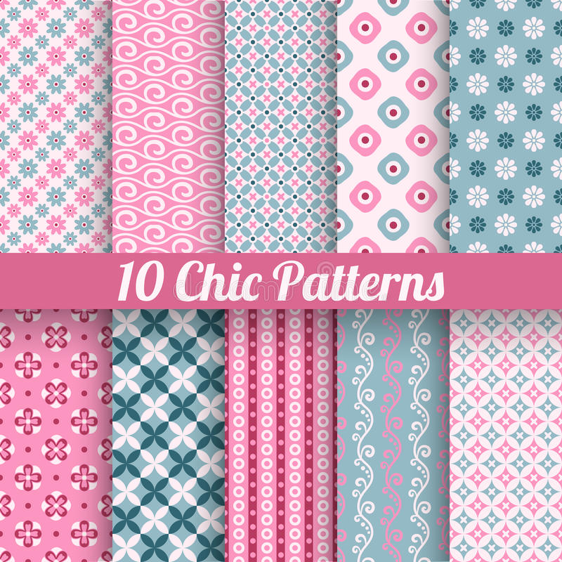 Chic different vector seamless patterns (tiling) stock illustration