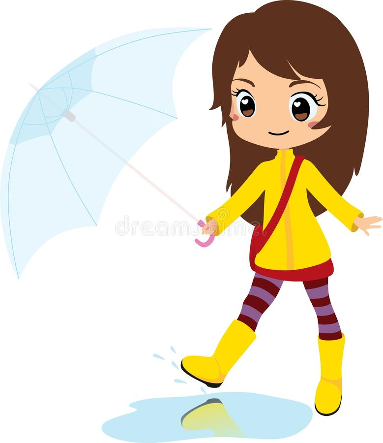 chic girl jumping on a puddle with umbrella on a rainy day brown rh dreamstime com rainy day clothes clipart rainy day clothes clipart