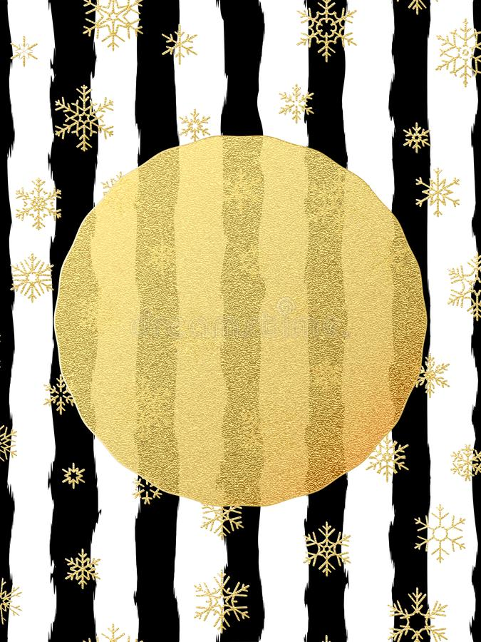 Chic and luxury Christmas postcard with gold glitter foil greeting card. Black stripes, snowflakes, golden glittering vector illustration