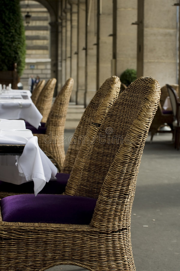 Chic outdoor restaurant seatin stock image